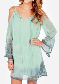 Green Cut Out Condole Belt Ruffle Print Strapless Chiffon Dress