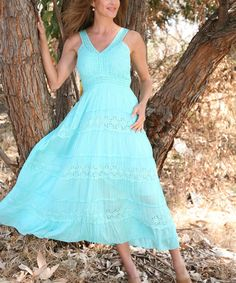 Take a look at the Aqua Eyelet Tiered Yoke Empire-Waist Dress on #zulily today!