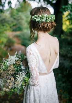 Calling all boho brides - you\'ll love this floral, relaxed, bohemian look! Be inspired by this beautiful botanical bridal photoshoot featuring flower crowns, wedding dresses, a gorgeous groom and more on the Wedding Ideas website!