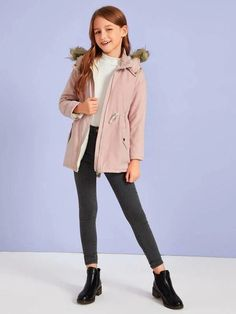 Girls Drawstring Waist Fleece Lined Parka Coat – Kidenhouse Preteen Girls Fashion, Teenage Girl Outfits, Cute Casual Outfits, Office Fashion Women, Teen Fashion Outfits, Teenager Outfits, Girly Outfits, Outfits For Teens, Fashion Fashion