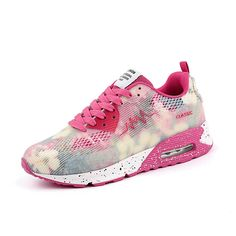 Spring Women Causal Shoes Sport Breathable Trainers Size 35-40 Pink Flat With Ladies Shoes Lace Up Outdoor Walking Shoes
