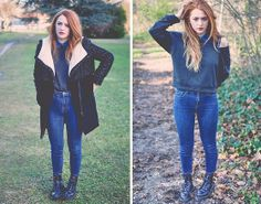 Urban Outfitters High Waisted Jeans, Dr. Martens Boots, Monki Top, Zara Coat