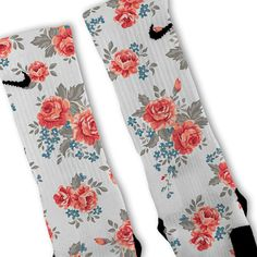 We custom design and print all of our Floral White Custom Nike Elite Socks Custom Nike Elite Socks. We print all orders on demand and no two pairs are identical. Nike Elites, Nike Elite Socks, Nike Socks, Athletic Socks, Athletic Wear, Athletic Outfits, Nike Basketball Shoes, Basketball Stuff, Socks