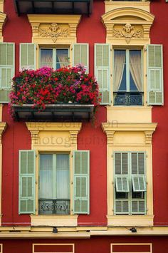 Beautiful windows on a building in Nice, fr.