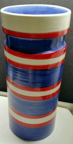Estate Vintage Signed Rosenthal Netter Bitossi Ribbed Vase Cylinder 76/1 Italy