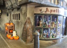 Tiny Treasures: Diagon Alley ~ Some New Pictures Miniture Dollhouse, Miniature Rooms, Diy Dollhouse, Dollhouse Miniatures, Harry Potter Miniatures, Harry Potter Dolls, Pots, Potters House, Diagon Alley
