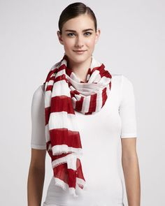 Striped Cotton Scarf, Red/White by Marc Jacobs at Neiman Marcus.