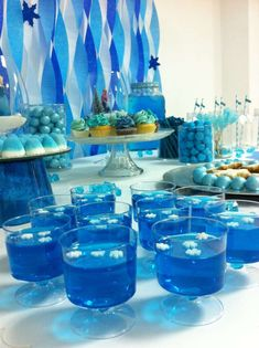 Blue jello cups at a Frozen birthday party! See more party planning ideas at CatchMyParty.com!