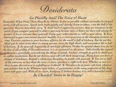 desiderata poem | The Desiderata Poem On Embossed Wood by Desiderata Gallery