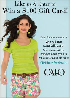 "Want a chance to win a @CatoFashions gift card?  ""Like"" us on Facebook and Enter!"