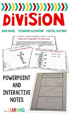 Long Division is a difficult topic to teach students, but this lesson simplifies it for you! The PowerPoint Lesson includes solving division problems with one and two digit divisors using the partial quotient method, the area model, and the standard algor Math Division, Long Division, Teaching Numbers, Teaching Math, Fifth Grade Math, Fourth Grade, Partial Quotients, Constructed Response, I Love Math