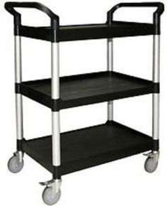 Utility Cart Trinity 3 Tier Kitchen Garage Warehouse Table Rolling Wheel Black