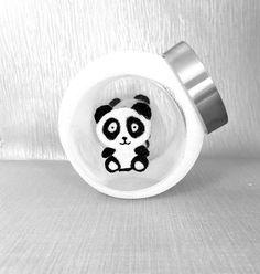 Panda bear retro sweet jar, make up storage jar - glitter glasses, glassware, gift ideas, glitzware creations - Make Up Storage, Jar Storage, Food Storage, Glitter Glasses, Glitter Gifts, Etsy Handmade, Handmade Items, Handmade Gifts, Glitter Home Decor