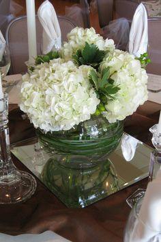 centerpiece green hydrangea white berries small centerpiece with white hydrangeas. Hortensia Hydrangea, Hydrangea Garden, Green Hydrangea, White Hydrangeas, Short Centerpieces, Floral Centerpieces, Candle Centerpieces, Centrepieces, Silk Flowers