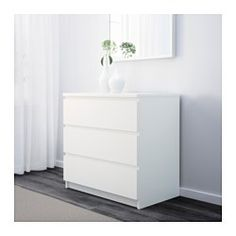 "Shared Nightstand (Need 1) - IKEA - MALM, 3-drawer chest, black-brown, 31 1/2x30 3/4 "", , Real wood veneer will make this chest of drawers age gracefully.Smooth running drawers with pull-out stop.If you want to organize inside you can complement with SKUBB box, set of 6."