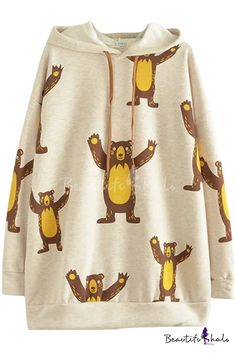 8fccdfa3dc Cartoon Bear Print Hooded Long Sleeve Tunic Apricot Sweatshirt Bear Print