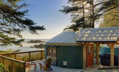 Glamping in a yurt at Wya Point Resort, Ucluelet, Vancouver Island, British Columbia, Canada Luxury Tents, Luxury Camping, Go Glamping, Tent Camping, Camping Ideas, Pacific Yurts, Pacific Rim, Open Hotel, Yurt Living