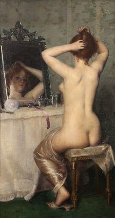 Lucy LEE-ROBBINS (1865-1943)  Jeune femme devant son miroir, 1891  Huile sur…