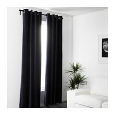"IKEA - SANELA, Curtains, 1 pair, 55x118 "", , The thick curtains darken the room and provide privacy by preventing people outside from seeing into the room.Cotton velvet gives depth to the color and is soft to the touch.The eyelet heading allows you to hang the curtains directly on a curtain rod.Effective at keeping out both drafts in the winter and heat in the summer."