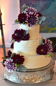 Lilac and Lily Floral Design — The Blog. Dahlia Wedding Cake. Deep purple wedding cake accent colors with organic flower accents