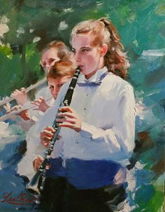 "Bringing the focus to the main face in his composition with realism, artist Lee Rue finishes the rest with bold impressionistic brushstrokes. The gaze of the other two players add an element of curiosity and balance to the composition. ""Marching Band"" 18x14 by Lee Rue from California, finalist in NOAPS Online International Exhibit http://www.noaps.org/html/on-line_international.html"