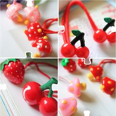 Fruit Department Strawberries Cherry Apple Small Umbrella Double Three-dimensional Touzha Single Head Three-dimensional Headband Hair rope Hair Accessories