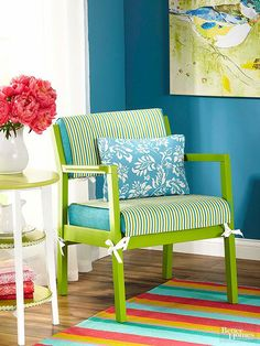 New paint and fresh upholstery are standard furniture makeover plays, but an additional slipcover hits a home run.