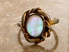 Vintage MOP Ring   Size 5.5   Southwest Look   Silver Tone by GemstoneCowboy on Etsy