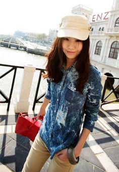 Dark-blue Denim Long Sleeve Shirt - Sheinside.com #SheInside