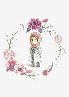 Dentist Cartoon, Cartoon Art, Medical Wallpaper, Hijab Drawing, Islamic Cartoon, Anime Muslim, Hijab Cartoon, Islamic Girl, Girly Drawings