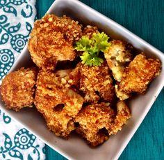 Skinny Cajun Parmesan Cauliflower Bites.  #healthy #cauliflower #fiberone