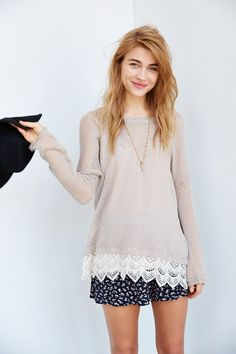 Staring At Stars Crochet-Trim Sweater - Urban Outfitters