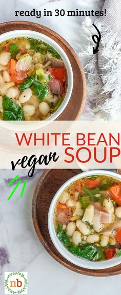 A vegetarian (and vegan-friendly) white bean soup packed full of flavor, nutrition, and ease. You'll love the budget-friendly ingredients and how easy this soup is to freeze! White Bean Soup, White Beans, Best Vegetarian Recipes, Vegan Vegetarian, Soup Beans, Sicilian Recipes, Homemade Soup, Vegan Soup, Recipes From Heaven