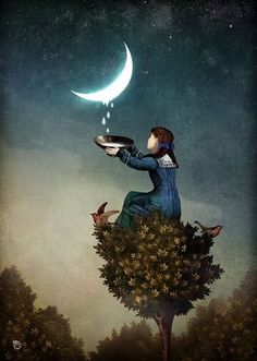 Anything can happen in a world that holds such beauty - Christian Schloe is a talented Chilean artist whose work includes digital art, painting, illustration, and photography. Fantasy Kunst, Fantasy Art, Photo D Art, Surrealism Painting, Beautiful Moon, Wow Art, Surreal Art, Illustrators, Art Photography