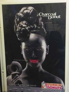 """Offensive: A leading human rights group has called on Dunkin' Donuts to withdraw the """"bizarre and racist"""" advertisement for chocolate doughnuts in Thailand, which is reminiscent of 19th and early 20th century American stereotypes for black people that are now considered offensive symbols of a racist era. Dunkin Donuts, Doughnuts, Advertising Campaign, Ads, Black Museum, Media Communication, Social Injustice, Black Picture, Socialism"""