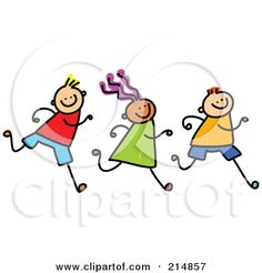 Royalty-Free (RF) Clipart Illustration of a Childs Sketch Of A Row Of Three Running Kids by Prawny