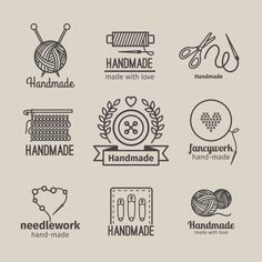 Buy Handmade Line Vintage Logo Set by ssstocker on GraphicRiver. Handmade line vintage logo set. Handmade retro badges or handmade outline labels. Knitwear and sewing symbols. Vintage Logo, Vintage Modern, Vintage Embroidery, Embroidery Patterns, Hand Embroidery Flowers, Machine Embroidery, Logo Atelier, Retro, Craft Logo