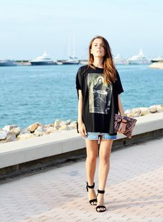 Wearing Givenchy T-shirt, Acne denim skirt, Prada python clutch, Alexander Wang Vika sandals