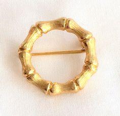 Bamboo Brooch Design Gold Tone