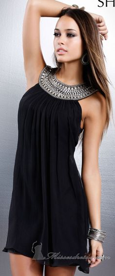 Shail K Embellished Black Cocktail Dress