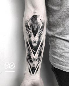 Tattoo uploaded by Robert Pavez Wolf Tattoo Forearm, Tribal Wolf Tattoo, Stag Tattoo, Wolf Tattoo Sleeve, Framed Tattoo, Tattoo Now, Tribal Tattoos, Sleeve Tattoos, Dope Tattoos