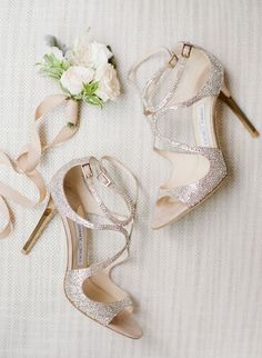 Gold glittered Jimmy Choo stilettos: http://www.stylemepretty.com/2017/02/03/multicultural-wedding-in-the-city-with-cherry-blossom-trees/ Photography: Sawyer Baird - http://www.sawyerbaird.com/ #jimmychooheelsmanoloblahnik