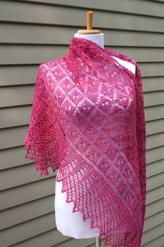 Knitted Shawl, Lace,  Triangular, Traditional Dimond Lace, Pink. $100.00, via Etsy.