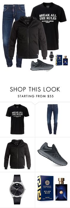 """""""Untitled #1199"""" by azra-99 ❤ liked on Polyvore featuring No Fixed Abode, Dsquared2, DC Shoes, NIKE, Emporio Armani, Versace, men's fashion and menswear"""