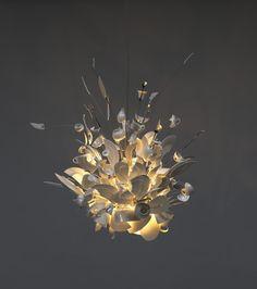 Exploding cups and saucers.  Porca Miseria! Chandelier  Ingo Maurer, 1994