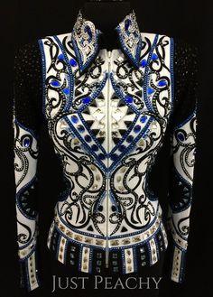 White, Royal Blue and Black Jacket by DarDar8 Designs ~ Ladies XS – Just Peachy