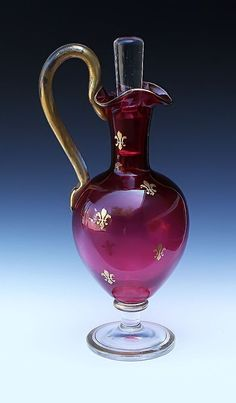 Cranberry Glass Ewer With Gilt Fleur-de-Lis -- Circa 1890 Antique Glass, Antique Art, Carafe, Cranberry Glass, Light Of Life, Glass Art, Red Glass, Stained Glass, Tea Pots