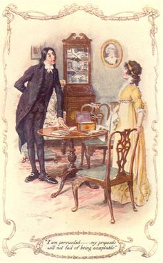 """I am persuaded........my proposals will not fail of being acceptable."" ~C.E. Brock watercolor (Mr. Collins to Lizzie)"