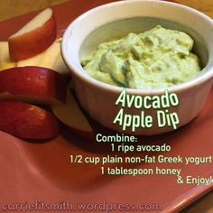 Avocado Apple Dip recipe.  This is a delicious and healthy snack!  It is my new go-to treat!