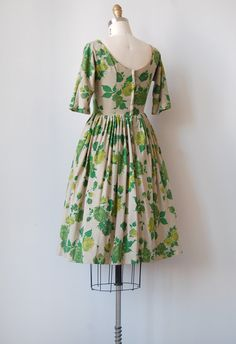 vintage 1950s green roses dress | AMBROSIAL MOMENTS DRESS